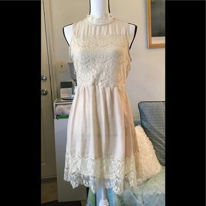 Altar'd State cream dress with lace appliqués. M